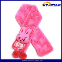HZW-13215 cute rabbit hot selling polyester plush animal winter loop scarf