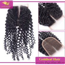7A Cheap Brazilian Hair 4 x 4 Kinky Curl Free/Middle/3 Part Silk Base Lace Closures With Baby Hair