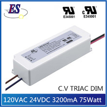 ES 75W 24V 3200mA Constant Voltage Triac Dimming LED Driver with UL CUL certification
