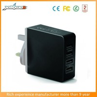 Promotional universal travel charger,Private tooling 4usb 36w desktop UK charger for tablet, mp3,mobile phone