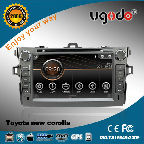 "ugode 8"" car DVD for Toyota corolla 2007-2013 with GPS radio bluetooth IPOD USB SD"