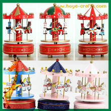 Gift Toy Wind Up Wooden Horse Roundabout Merry-Go-Round Carousel Music Box