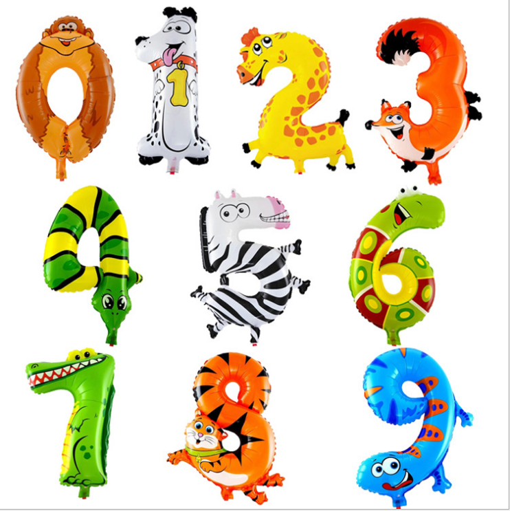 16 Inch 2018 New Arrival Number Cartoon Foil Balloons for Party Decoration