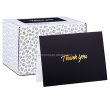 Custom high quality Black greeting <strong>card</strong> , embossing gold foil stamp thank you <strong>card</strong>