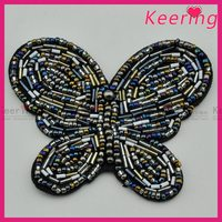 keering butterfly design handmade embroidered beaded stone appliques wholesale WPH-1825