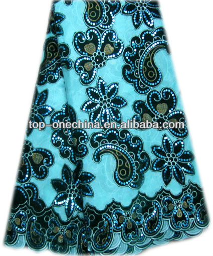 african lace fabric with sequence/velvet sequence lace fabric