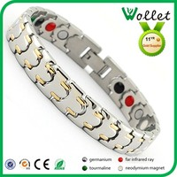 wollet fashion jewelry wholesale gold plated 316l stainless steel magnetic health bracelet
