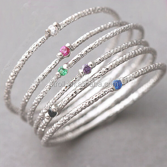 Hot sale Gold Thin Stack Rings zircon Set rhodium plated silver weight of gold ring