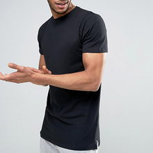 2018 New Design Fashion Street Wear Mens T shirts 100% Cotton Plain Side Slit Mens t shirts