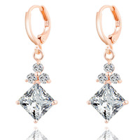 Free shipping high quality hot Amazon ebay Rose gold plated white new fashion 2016 western jewelry platinum drop zircon earring