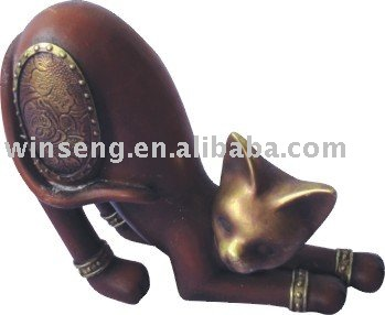 Polyresin Bronze cartoon Cat figurines