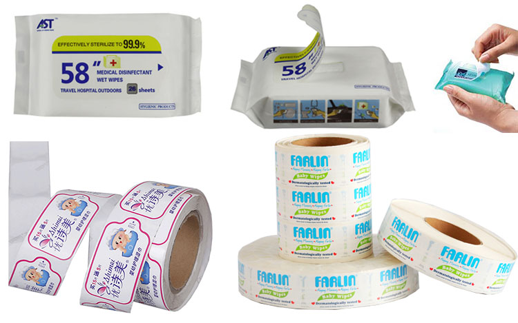 Repeatedly reliable wet wipes resealing custom label sticker