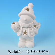 2017 trend selling ceramic christmas figurine,white porcelain christmas tealight ornaments
