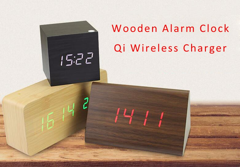 Hot sale wood W1 Bluetooth speaker with alarm clock qi charging