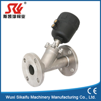 China High quality good price cheap 2/2-way toilet piston 304 316 stainless steel flange pneumatic angle seat valve