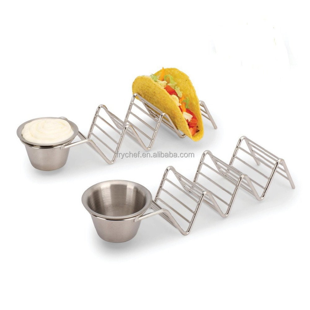 Best Sale Amazom Oven, Grill and Dishwasher Safe Metal Taco Hoder ,FDA Certificate Taco Rack With Sauce Cup