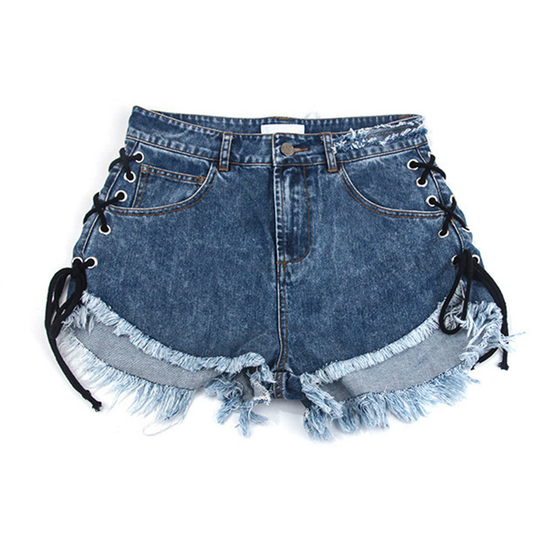 ZH0954C new style lady high waist bandage tassels jean hot shorts