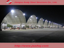 Light steel structure arch-shaped roof truss prefabricated aircraft hangar