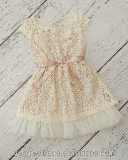 stunning cream country flower tulle girls dress party couture ivory teen girls wedding dress 2-6 years