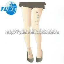 footchain&star Tattoo Punk Rock EMO Semi-Opaque Matte Skin Tone Tights Pantyhose