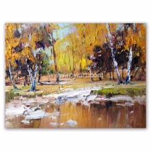 Nice Impression Golden Scenery Wall Art Autumn Landscape Oil Painting