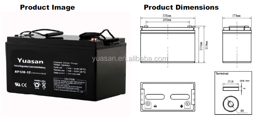 Valve Regulated Storage Battery 12V 120AH Sealed Lead Acid Battery -NP120-12