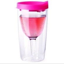 12oz double wall acrylic plastic red wine glass tumbler bpa free drinking <strong>cup</strong> with lid customized