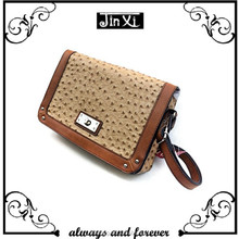 American popular bag fashion ostrich leather handbag with rivets