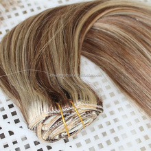 Piano color Full head set Clip In Human Hair Extension