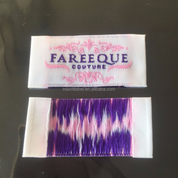 2018 Customized High Density Damask Hair Extension Labels Garments Woven Labels