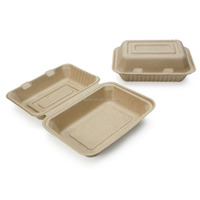Natural Color Sugarcane Fiber, Bagasse Clam Shell Container Biodegradable Box