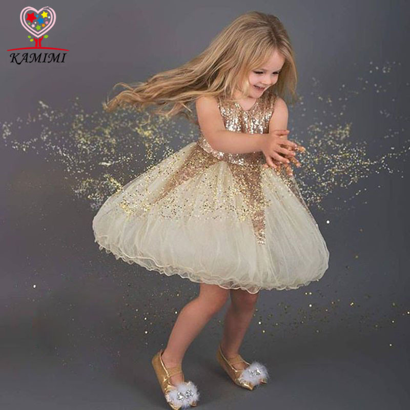2016 Wholesale Lace Kid Girls Princess Wedding Dress Fashion Sequins Girls Birthday Party Dress