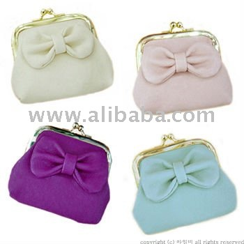 APPLE COIN PURSE/ Lovely Ribbon Motif Mini Pouch