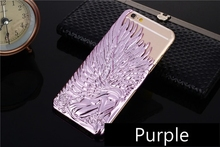 High Grade Coloured Glaze Purple Angel Wings Rear Lid Type Electroplate Mobile Phone Shell/Case for Iphone6&6Plus