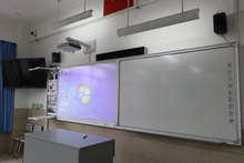 Clever touch interactive whiteboard smart board with short throw projector.