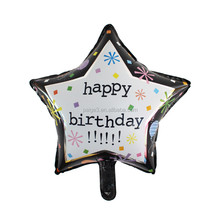 New design 18inch star shaped printed Happy birthday foil Aluminum balloon for birthday party decorations