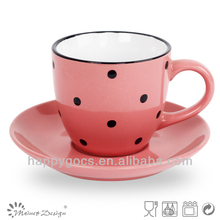 ceramic stoneware cup and saucer colorful dot design white color with dot