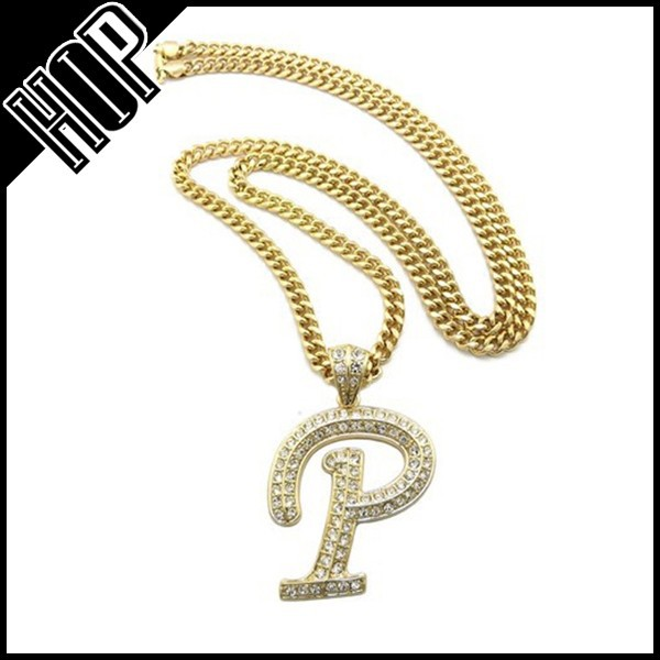 Hip Hop 14k Gold Crystal Initial Letter P Necklace