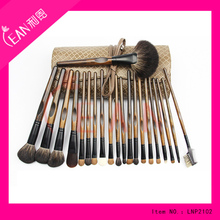 2017 21pcs high quality animal hair special handle snake pattern make up brush set with leather bag packing