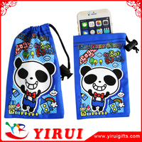 wholesale digital printed drawstring velvet camera pouch mobile phone bag