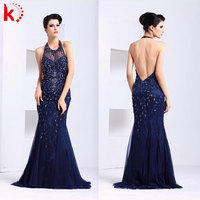 Sexy fashion new design evening dress sex 2014 blue celebrity prom dress Formal halter beaded taupe chiffon evening dress