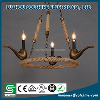 Vintage industrial hanging hemp rope loft pendant light vintage chandeliers