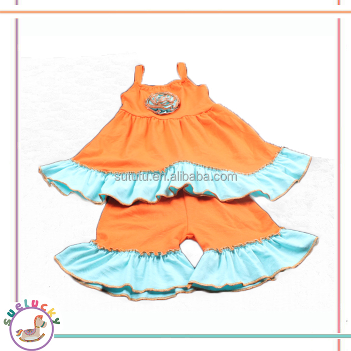 Simple design sleeveless orange long top aqua ruffle adult baby cycling kids girls baby wholesale clothing karachi
