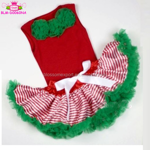Boutique Xmas Baby Red Stripe Green tulle Pettiskirt Skirt bow Red tank Top Kelly Green Rose shirts clothes 2 pcs Set 3-12M
