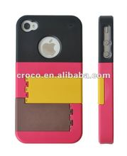 2012 Croco detachable plastic phone case with stand for iphone4/4s