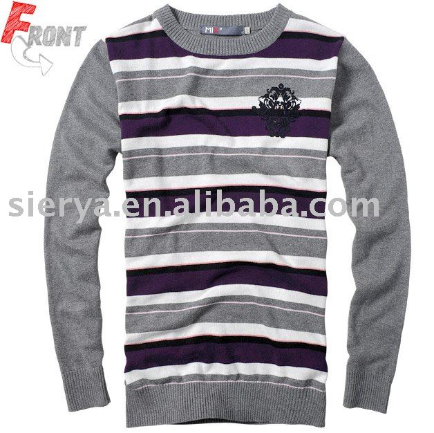 men's cotton stripe round neck sweater