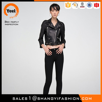 YEEL quality guarantee slim fit glossy original ykk zipper women suede leather short jacket from china