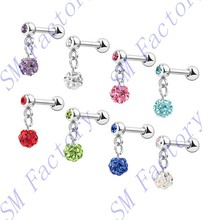tragus ear piercing helix cartilage barbell with ferido crystal ball pendant body piercing jewelry --SMFJ429039