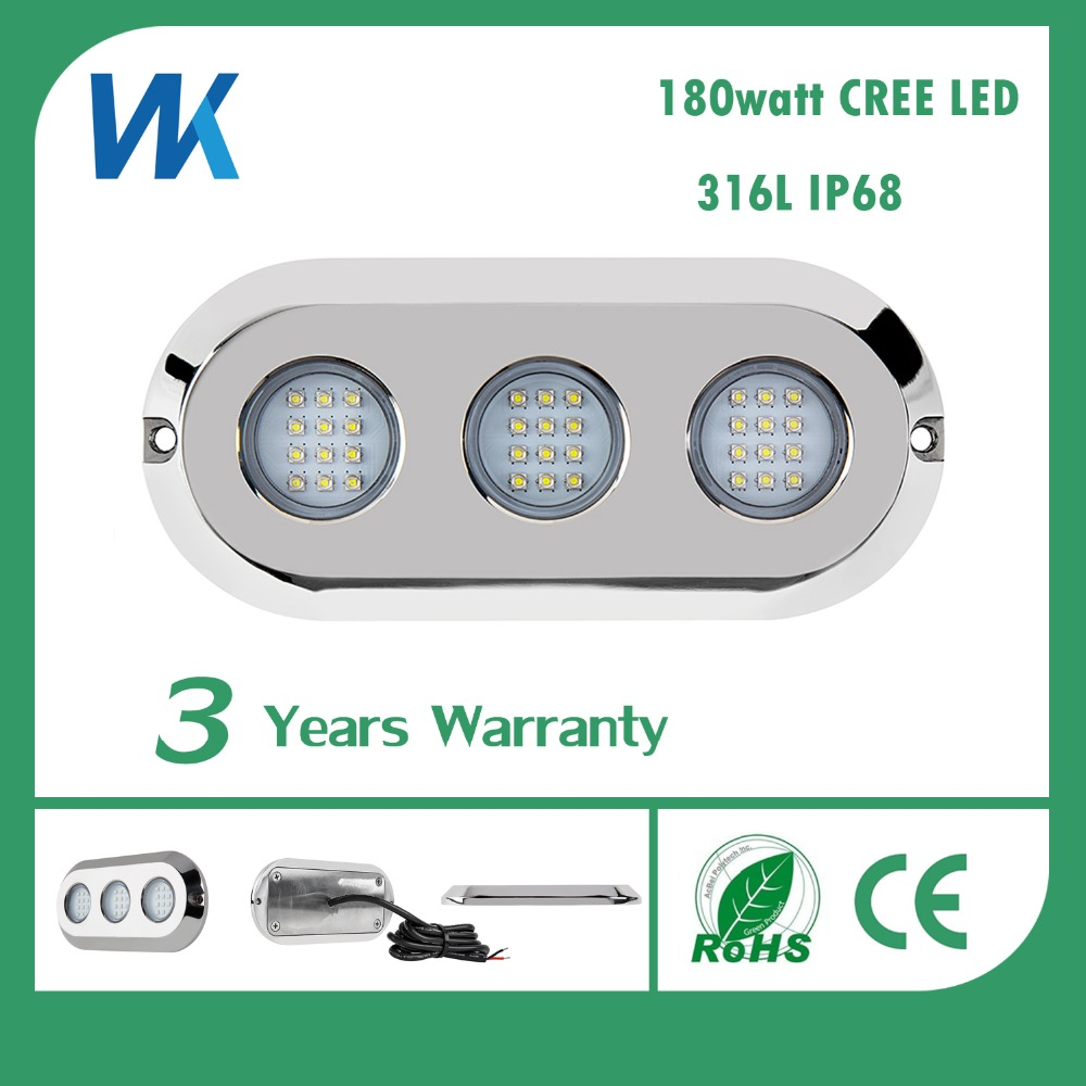 WEIKEN stainless steel 180w ip68 underwater surface mounted led salt water boat lights pool light