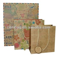 Full Printed Craft paper shopping bag papaer bag with handle kraft paper promotional bag